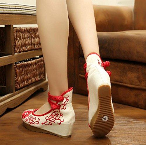 ZLL Gestickte Schuhe, Leinen, Sehnensohle, ethnischer Stil, erhöhte weibliche Schuhe, Mode, bequem, lässig Red