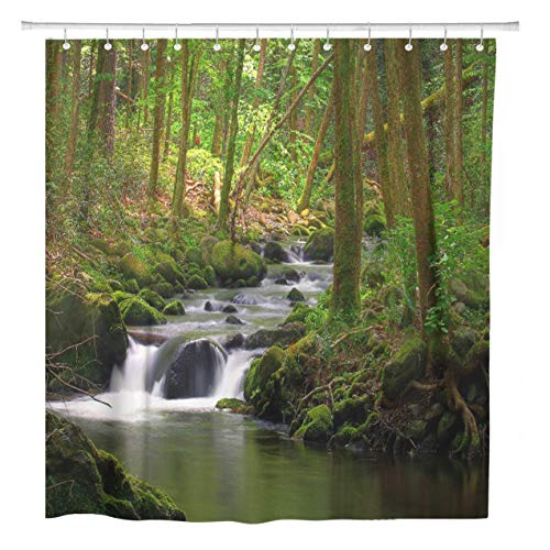 (ArtSocket Shower Curtain Green Stream Flowing in The Forest Over Mossy Rocks Home Bathroom Decor Polyester Fabric Waterproof 60 x 72 Inches Set with Hooks)
