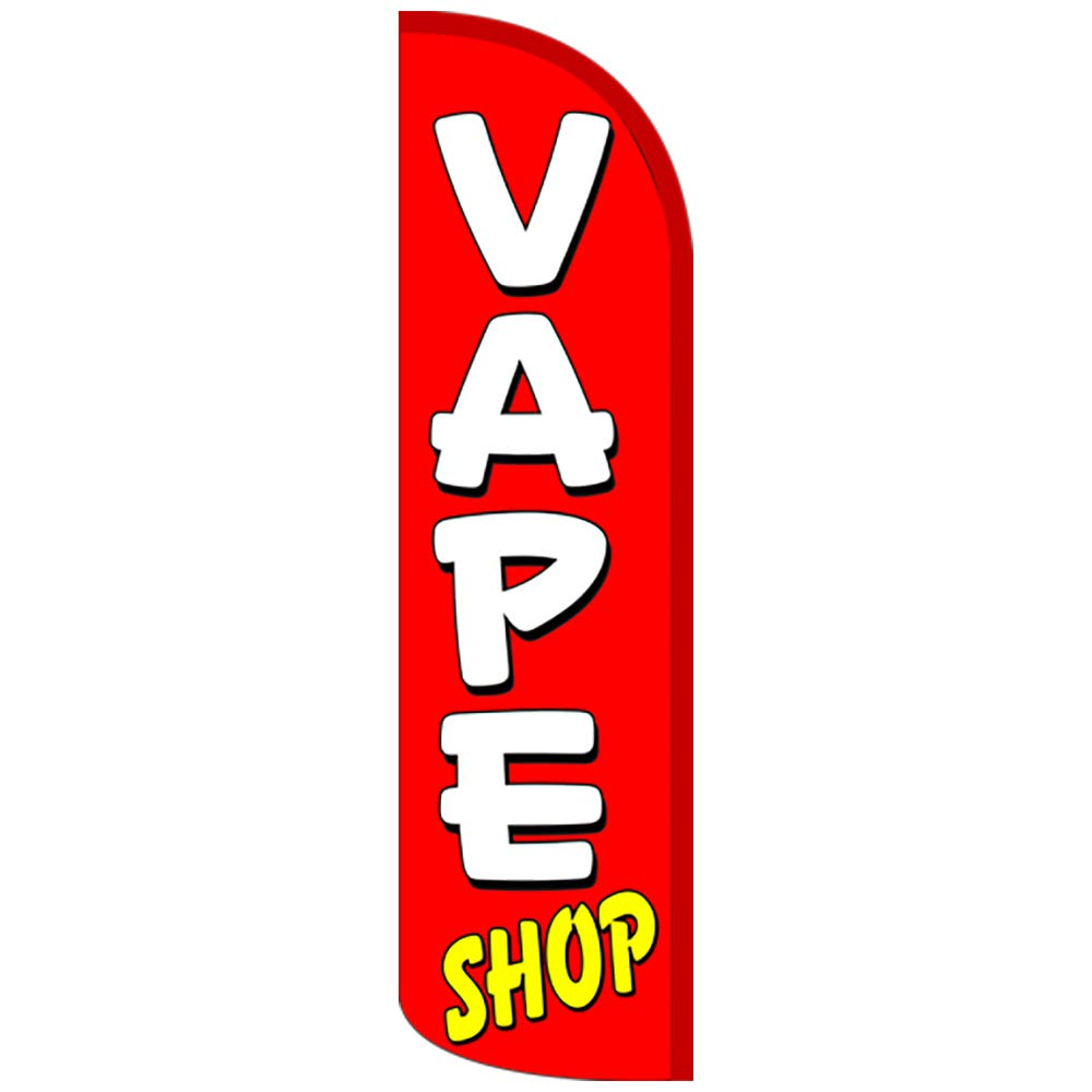 Flag ONLY Red//White Vape Shop 11.5 Tall x 3 Wide Windless Feather Flag