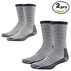 Work Boot Socks Men, RTZAT Unisex Boys Girls Thick Thermal Socks Fit Outdoor Activity Skiing Snowboarding Skating Mountaineering 2 Pairs Medium, 1 Grey, 1 Navy Blue