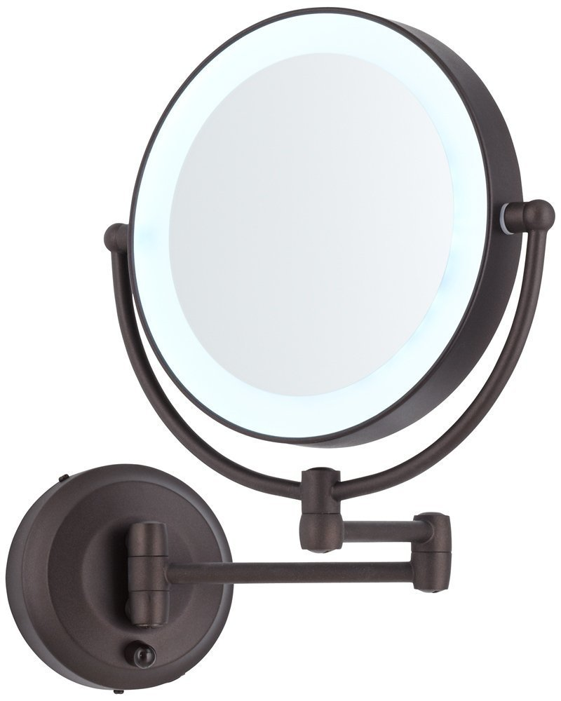 Cordless LED Pivoting 9'' Wide Oil-Rubbed Bronze Wall Mount Mirror