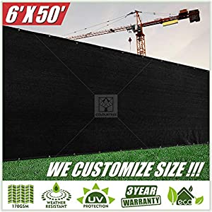 ColourTree 6′ x 50′ Black Fence Privacy Screen Windscreen Cover Fabric Shade Tarp Netting Mesh Cloth – Commercial Grade…