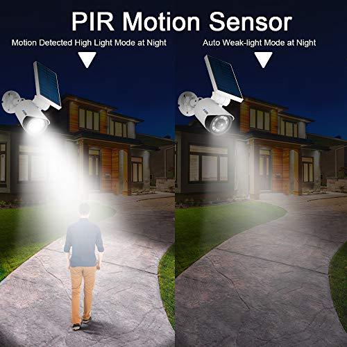 Solar Motion Sensor Light Outdoor - 800Lumens 8 LED Spotlight 5-Watt Solar Lights Outdoor IP66 Waterproof, Wireless Solar Flood Light for Porch Garden Patio Driveway Pathway,Plastic,Pack of 2 (White) by A-ZONE (Image #3)