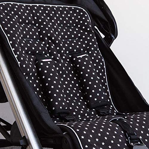 Baby Stroller Pad Cotton Liner and Strap Set Reversible Award Winning Pushchair Car seat Liner and Strap Set with Universal Slits to fit Most Car Seats and Pushchairs Black with White Stars