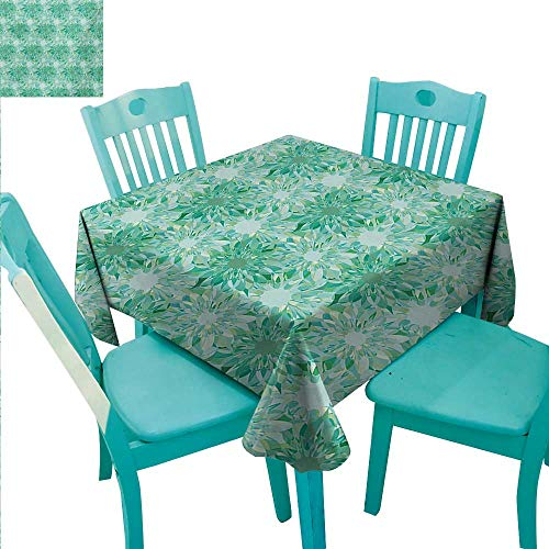 (Turquoise Fabric Dust-Proof Table Cover Floral Pattern With Beryl Crystal Guilloche Flowers Carving Art Elements Image Print Runners,Gatsby Wedding,Glam Wedding Decor,Vintage Weddings 54