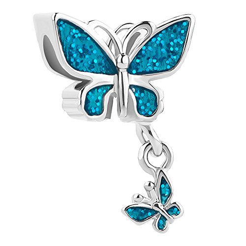 QueenCharms Colorful Butterfly Charm Beads Fit European Charm Bracelets (Light Blue)