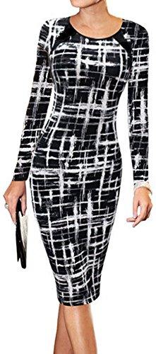 - LunaJany Women's Long Sleeve Stripe Print Wear to Work Office Sheath Midi Dress XL Black