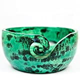 Exquisite Premium Yarn Ball Storage Bowls | Hand Painted Lovely Decor Yet Functional Yarn Dispenser (Medium ( 7 x 3 x 7 Inches ), Chameleon Green)