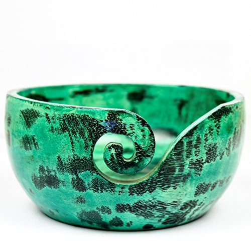 Exquisite Premium Yarn Ball Storage Bowls | Hand Painted Lovely Decor Yet Functional Yarn Dispenser (Medium ( 7 x 3 x 7 Inches ), Chameleon Green) by Nagina International