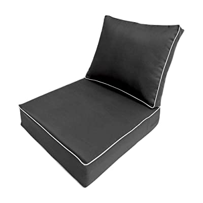 MH GLOBAL Contrast Pipe Trim Small Deep Seat + Back Slip Cover Only Outdoor Polyester 23x24x6 AD003 : Garden & Outdoor