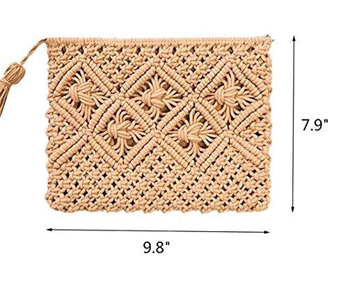 Womens Straw Retro Handmade Bag Summer Purse Khaki Bag Clutch Fringed Envelope Handbag qAgrq7nB