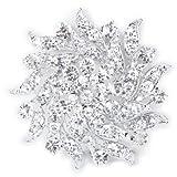 Rhinestone Flower Bridal Wedding Bouquet Brooch Pin Silver (As shown)