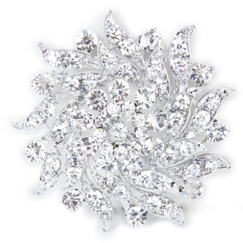 ReNext Rhinestone Flower Bridal Wedding Bouquet Brooch Pin ()