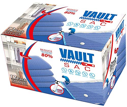VAULTSAC Vacuum Storage Bags | 12 Pack | 4 X Large, 4 X Medium, 4 X Small | 80% More Storage for Clothes Blankets Duvets & Much More | Works with Any Vacuum Cleaner Free Hand-Pump for Travel