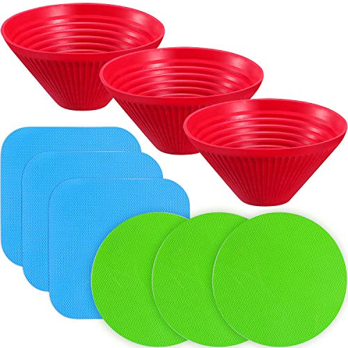 Chuangdi 9 Pieces Rubber Jar Grips Jar Gripper Pad Bottle Lid Opener Kitchen Coasters, 3 Shapes (Red, Blue, Green) (Grip Opener)