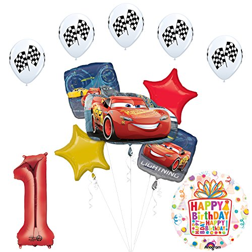 Disney Cars 3 Lighting McQueen 1st Birthday Party Supplies and Balloon Decorations (Cars First Birthday Party Supplies)