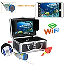 7 Inch TFT 30M 1000Tvl Underwater Fishing Video Camera Kit,HD WiFi Wireless for iOS Android APP Supports Video Record and Take Photo