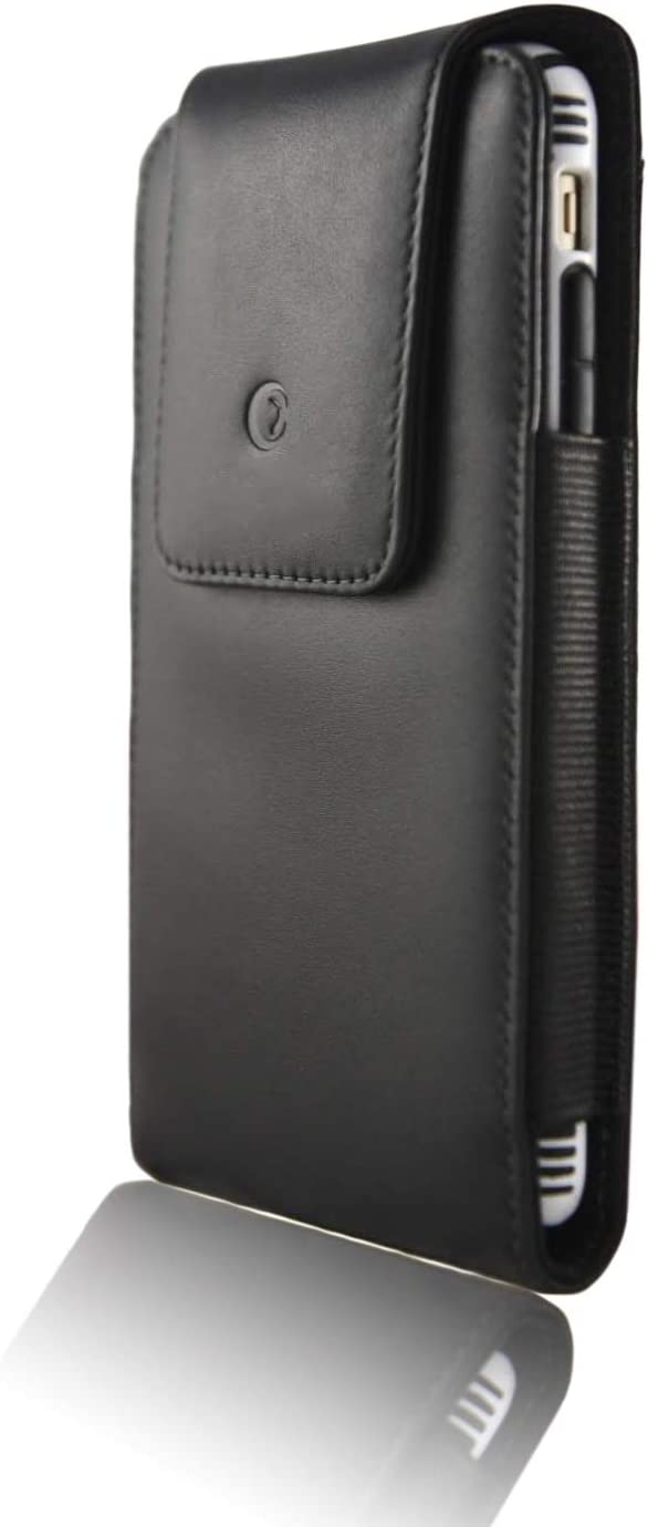 "monsoon [Alpha] Genuine Leather Case Holster with Belt Clip for iPhone 12 Pro MAX / iPhone 11 Pro MAX/ Xs MAX / 8 Plus 7 Plus - fits 6.7"" and 6.5"" iPhone with Slim Case"
