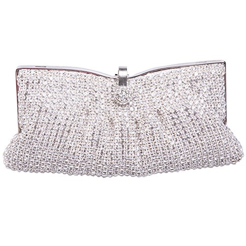Fawziya Luxury Rhinestone Clutch Soft Women Crystal Evening Clutch Bags-Silver