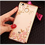 LOXXO Shockproof Silicone Soft TPU Transparent Auora Flower Case with Sparkle Back Cover for Xiomi Redmi 4(Gold Flower)