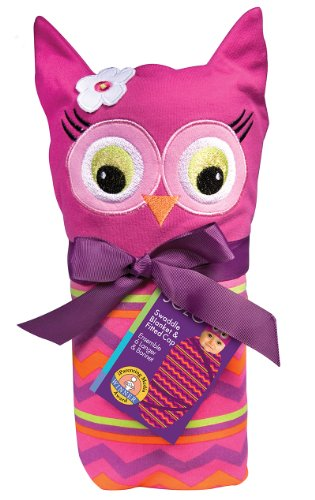 Sozo Baby-girls Newborn Girls Owl Swaddle Blanket and Cap Set, Pink/Purple, One Size ()