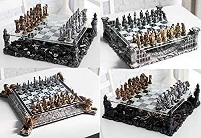 New MTN-G 3D Pewter Chess Set Dragon