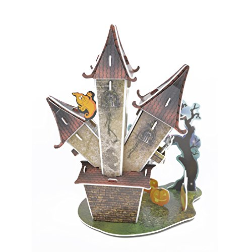 High Quality Cute Creative Magic Halloween Castle 3D Puzzle Paper Models,Europe EN71,US ASTM F963,6P and 3C quality inspection,51 pieces -
