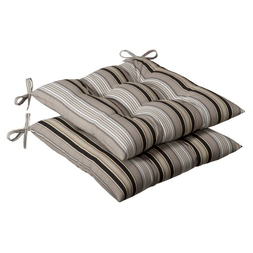 Pillow Perfect Indoor/Outdoor Black/Beige Striped Tufted Seat Cushion, (Wrought Iron Onyx)