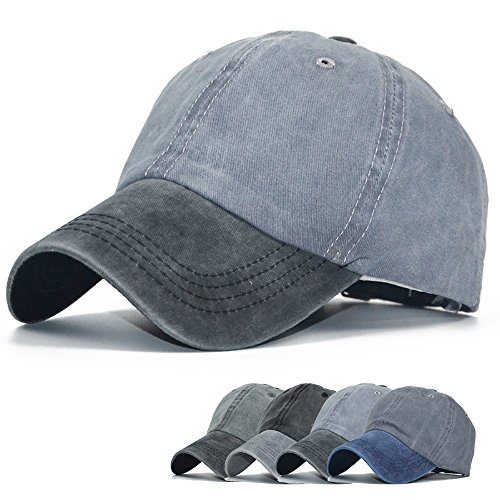 Baseball Cap Hat Men Women - Classic Adjustable Washed Twill Denim Dad Hat Ball Cap ...