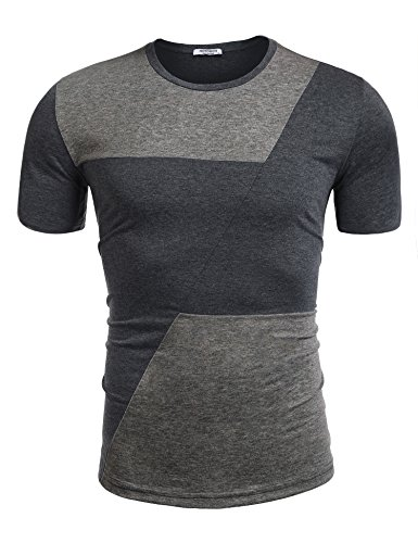 Contrast Stitch Short Sleeve T-shirt (HOTOUCH Crew-Neck Stitch Contrast Color Pullover Short Sleeve T-Shirt For Men,Dark Gray,Medium)