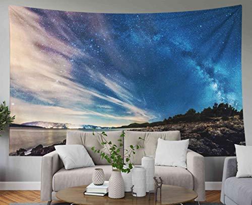 Capsceoll Tapestry for Flag Day, 60x50 Inches Tapestries Landscape of Croatia Coast sea and Mountains Milky Way Panorama Wall Hanging Tapestry for Décor Dorm Tapestry Living Home - Milky Panorama Way