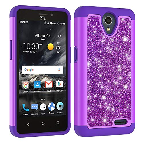 ZTE Prestige 2,ZTE Maven 3,ZTE Prelude Plus,ZTE Overture 3 Case,Luxury Glitter Sparkle Bling Case,Hybrid PC Silicone Faux Leather Cover,Dual Layer Armor Protective Phone Case for ZTE N9136 Purple