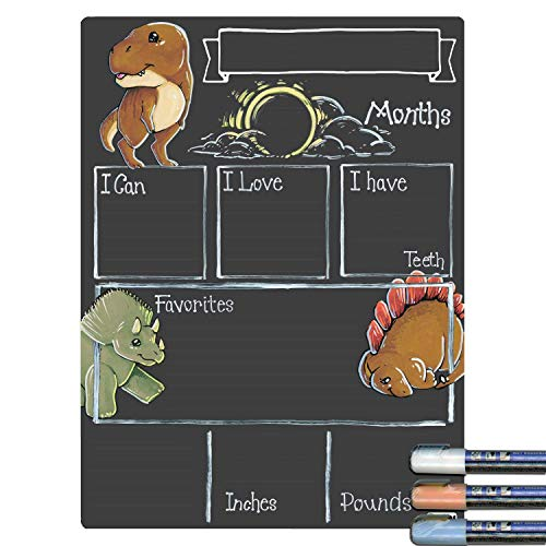 (Cohas Monthly Milestone Board for Baby with Dinosaur Theme, Reusable Chalkboard Style Surface, and Liquid Chalk Markers, 12 by 16 Inches, 3 Pastel)