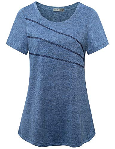MISS FORTUNE Short Sleeve Yoga Tops for Women Activewear Tshirts Tennis Loose Fitting Hiking Clothes Comfortable Basic Crew Neck Drifit Shirt Flowy Workout Blouse Plus Size Sports Tops Blue 1x