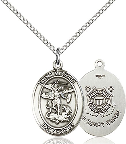 Sterling Silver Saint Michael Coast Guard Military Medal Pendant, 3/4 Inch