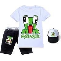 Zheart Unspeakable Unisex Kids Cotton T-Shirt Set 3 Piece Short T-Shirt + Shorts + Sun Hat Unspeakable Top for Boys and…