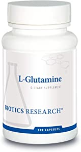 Biotics Research L Glutamine, Gastrointestinal Health, Gut Lining Support, Muscle Repair, Lean Muscle, Antioxidant Activity, Free Form Amino Acid. 180 capsules