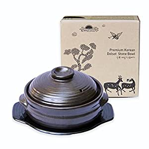 Crazy Korean Cooking Korean Stone Bowl (Dolsot), Sizzling Hot Pot for Bibimbap and Soup - Premium Ceramic (Medium with Lid)