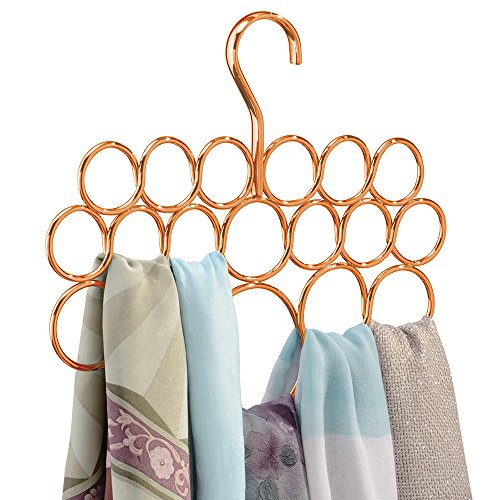 mDesign Scarf Hanger, No Snag Storage for Scarves, Ties, Belts, Shawls, Pashminas, Accessories - 18 Loops, Copper