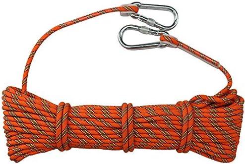 クライミングロープ、8mmアウトドアロッククライミングサバイバルエスケープロープ高強度ロープ安全ロープ、縫製バックルとカラビナ付き。,10m