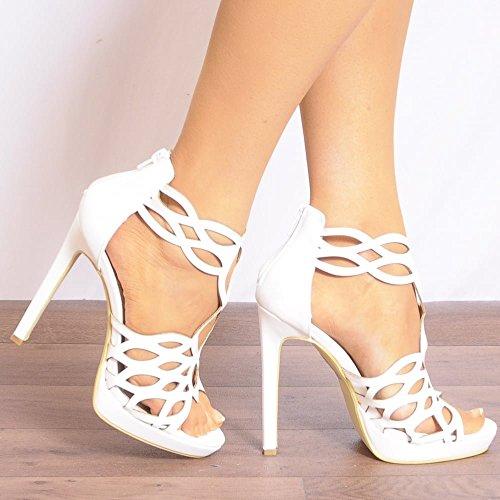 Bianco Womens Sandali Con Il Cinturino Alla Caviglia Cinturino Tacchi Alti Peep Toes Scarpe 3-8 UK6/EURO39/AUS7/USA8