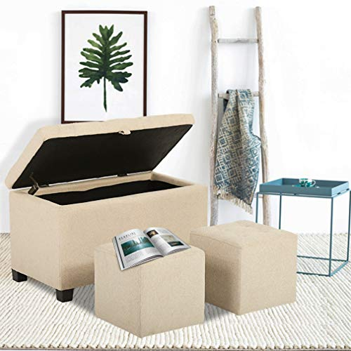 Ottoman Bench Storage Bench Bedroom Fabric Tufted Upholstered Footrest with Rectangular 3 Piece Cube Ottoman Set ()