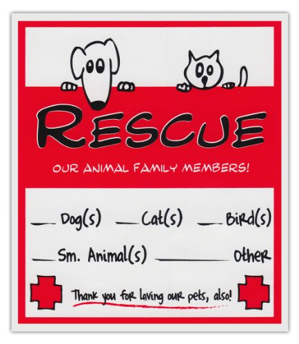- 2-Pack Pet Rescue Alert To Fire Department | Window Stickers Decals Dogs Cats