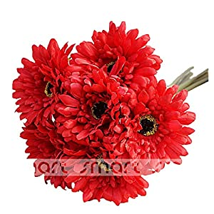 "10 PCS Artificial Silk African Chrysanthemum Plant Flower Bouquet Big Daisy Chrysanthemum Sunflowers Wedding Party Decor Home 12"" (Red) 47"