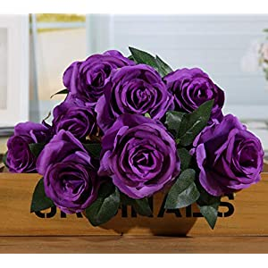TopSZ Fake Flowers Artificial 9 Big Roses on 1 Branch Silk Flowers Bouquet Wedding Home Decoration, Pack of 1 119