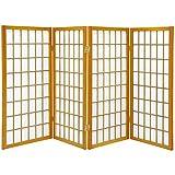 Oriental Furniture 3 ft. Tall Window Pane Shoji Screen - Honey - 4 Panels