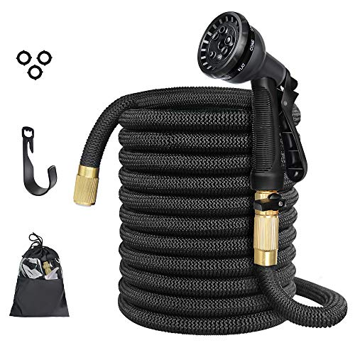 Garden Hose, Strongest Expandable Water Hose, 9 Functions Sprayer with Double Latex Core, 3/4″ Solid Brass Fittings, Extra Strength Fabric – Improved Expanding Hose (New 50 FT)