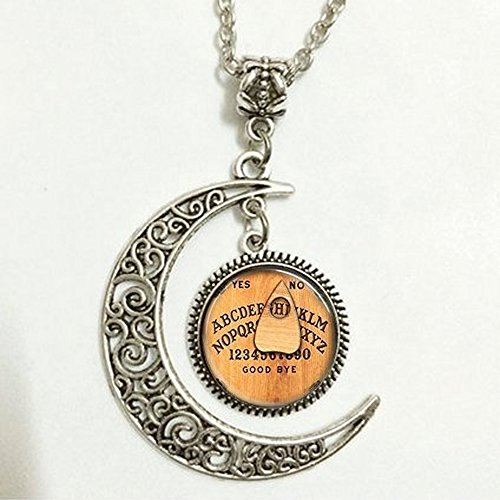 Charm Crescent Moon Monogram Ouija Board Initial Pendant Necklace Personalized Alphabet Glass Dome Jewelry Charm Round Circle (Board Jewelry Pendant)