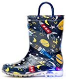 Outee Toddler Boys Kids Light Up Rain Boots Printed Waterproof Shoes Lightweight Cute Blue Cosmos with Easy-On Handles and Insole (Size 9,Blue)