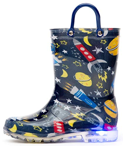 Outee Boys Kids Toddler Rain Boots Light Up Printed Waterproof Shoes Lightweight Cute Blue Cosmos with Easy-On Handles and Insole (Size 1,Blue)